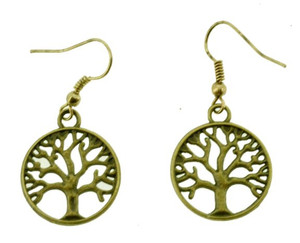 Tree of Life Earrings, Brass