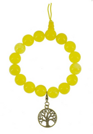 Yellow Wrist Mala with Brass Tree of Life Charm