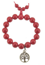 Red Wrist Mala with Brass Tree of Life Charm