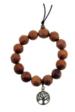 Bodhi Seed Wrist Mala with Brass Tree of Life Charm