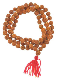 Rudraksha Seed Mala, Knotted Between Each Bead, Red
