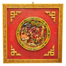 Buddhist Wood Painting with Longevity Signs