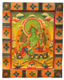 Green Tara Wood Thangka Painting Board