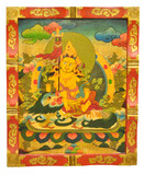 Yellow Dzambhala, Zambala, Jambhala Wooden Thangka Painting