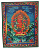 Hand-Painted Wooden Kurukulla Red Tara Thangka Painting