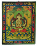Tibetan Masterpiece Chenrezig Wooden Thangka Painting, Hand-Painted on Wood