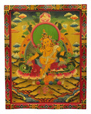 Tibetan Hand Painted Masterpiece Yellow Dzambhala, Zambala, Jambhala Wooden Thangka Painting