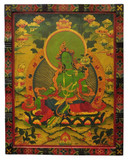 Tibetan Hand Painted Green Tara Wooden Thangka Painting