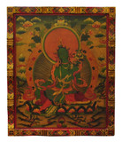 Tibetan Masterpiece Green Tara Wood Thangka, Hand-Painted in Nepal