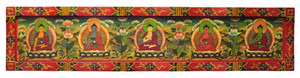 Long Tibetan Blessing of Buddha Wood Painting, 5 Buddhas