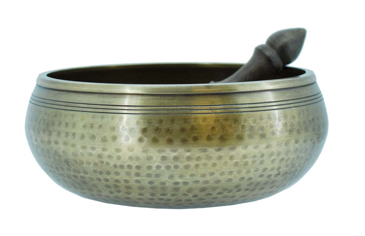 "Brass Singing Bowl, 8"", with Hammer Marks"