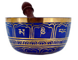 Tibetan Singing Bowl, Blue, 6 Inches, Straight-Sided Singing Bowl
