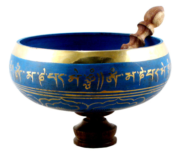 Tibetan Singing Bowl, Blue and Gold, 8.5 Inches