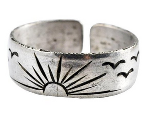 Sun and Birds White Metal Adjustable Ring