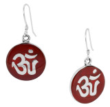Coral Om Symbol Earrings, Sterling Silver