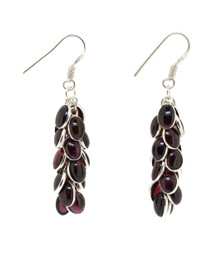 Red Garnet and Sterling Silver Earrings