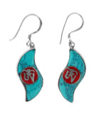 Turquoise and Coral Om Symbol Earrings