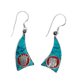 Kalachakra Mantra Symbol Earrings, Turquoise and Coral