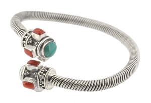 Turquoise and Coral Twisted Bracelet, Sterling Silver