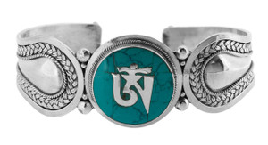 Om Symbol Bracelet with Turquoise, Sterling Silver