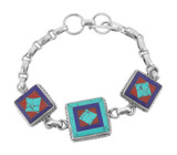 Turquoise, Lapis Lazuli, and Coral Square Bracelet