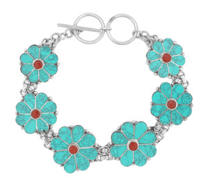 Flower Bracelet, Turquoise and Coral