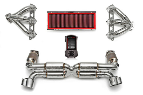 Complete high-performance exhaust & intake solution for the 996 GT2; includes Supersport X-Pipe System (includes Sport Catalytic Converters), Sport Performance Headers, Deluxe X-50 Style Tips, High Performance Air Intake, and Cobb Accessport with Fabspeed ProTune.