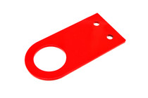 "Universal tow hook precision-cut from 3/16"" steel with a 2"" hole; available in 4.5"", 5.5"", 6.5"", and 7.5"" lengths with a red powdercoated finish"