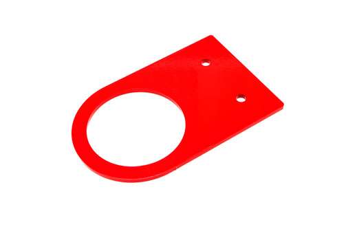 "Universal tow hook precision-cut from 3/16"" steel with an FIA-style 80mm center hole; available in 6.0"", 6.5"", and 7.5"" lengths with a red powdercoated finish"