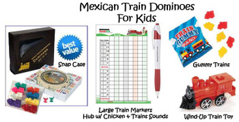 Mexican Train Dominoes Numbered Set For Kids -Snap Case