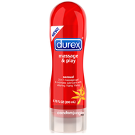 A front side image of the Durex Massage & Play Sensual Lubricant with Ylang Ylang bottle.