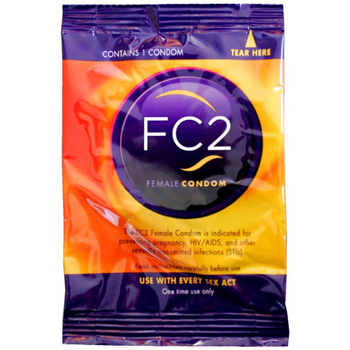 A front side image of a single fc2 Female Condom.