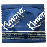 A front side image of a single Kimono MicroThin Condom.
