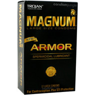 A front side image of the retail box of 12 Trojan Magnum Armor Spermicidal Lubricant Condoms.