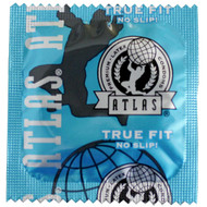 A front side image of a single Atlas True Fit Lubricated Condom.