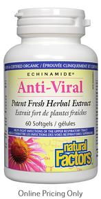 NATURAL FACTORS ECHINAMIDE ANTI-VIRAL POTENT FRESH HERBAL EXTRACT 60sg