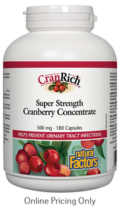 NATURAL FACTORS CRANRICH SUPER STRENGTH CRANBERRY CONCENTRATE 500mg 180caps