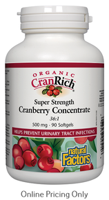 NATURAL FACTORS CRANRICH ORGANIC SUPER STRENGTH CRANBERRY CONCENTRATE 500mg 90sg