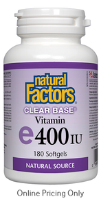 NATURAL FACTORS CLEAR BASE VITAMIN E 400IU 180sg