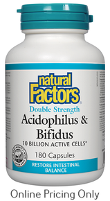 NATURAL FACTORS ACIDOPHILUS AND BIFIDUS DOUBLE STRENGTH 180caps