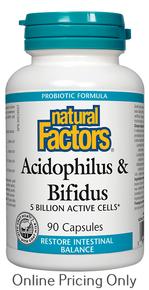 NATURAL FACTORS ACIDOPHILUS AND BIFIDUS 90caps