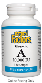 NATURAL FACTORS VITAMIN A 10,000IU 180sg