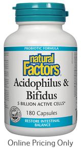 NATURAL FACTORS ACIDOPHILUS AND BIFIDUS 180caps