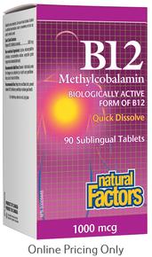 NATURAL FACTORS B12 METHYLCOBALAMIN 1000mcg 90subtabs