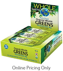 NATURAL FACTORS WHOLE EARTH AND SEA GREENS PROTEIN BAR BOX 12 x 57g