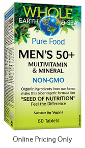 NATURAL FACTORS WHOLE EARTH AND SEA MEN`S MULTI 50+ 60tabs