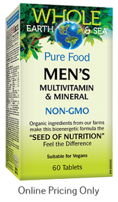 NATURAL FACTORS WHOLE EARTH AND SEA MEN`S MULTI 60tabs