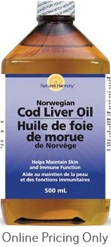 NATURES HARMONY COD LIVER OIL PLAIN 500ml