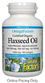 NATURAL FACTORS CERTIFIED ORGANIC FLAXSEED OIL 1000mg 90sg