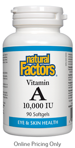 NATURAL FACTORS VITAMIN A 10,000IU 90sg